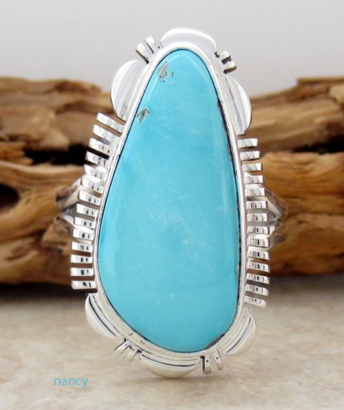 Navajo Made Turquoise & Sterling Silver Ring size 9 - 1586at