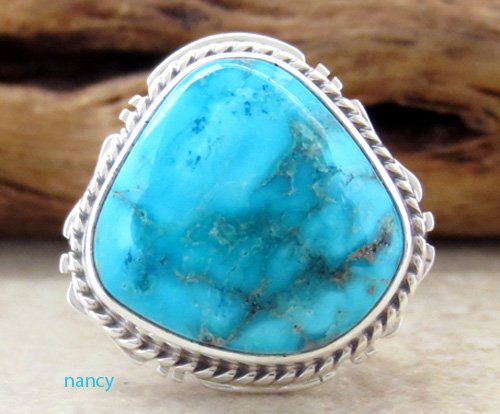 Image 0 of     Small Navajo Made Turquoise & Sterling Silver Ring size 7 - 0871sn
