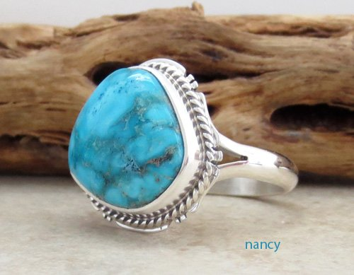 Image 1 of     Small Navajo Made Turquoise & Sterling Silver Ring size 7 - 0871sn