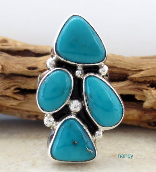 Turquoise & Sterling Silver Ring size 7 Navajo Made - 0195sn