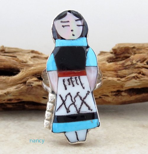 Image 0 of    Zuni Made Maiden Turquoise Inlay Ring size 7 - 1439rio
