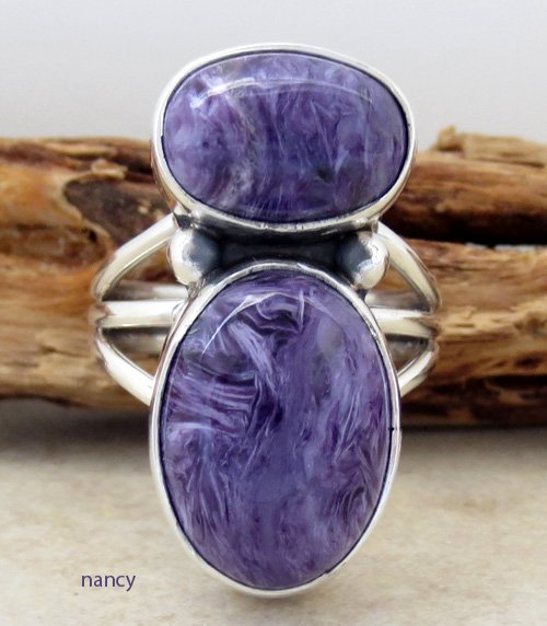 Navajo Made Sterling Silver & Charoite Ring size 9 - 1082sn