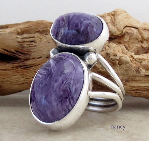 Image 1 of     Navajo Made Sterling Silver & Charoite Ring size 9 - 1082sn