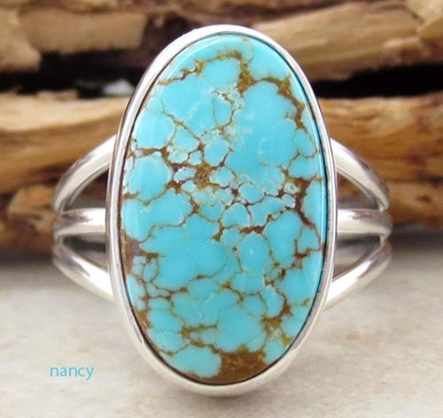 Navajo # 8 Turquoise & Sterling Silver Ring size 9 J Piaso - 0463sn