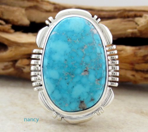 Turquoise & Sterling Silver Ring size 9 Navajo J Fransisco -0216at