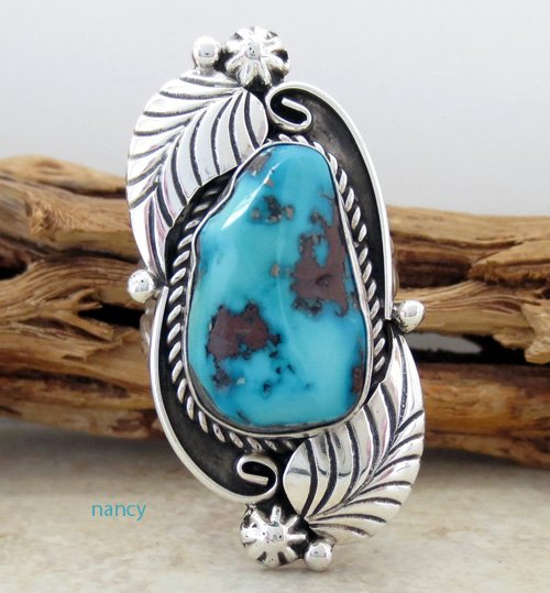Navajo Made Turquoise & Sterling Silver Ring sz 7.5 - 0648sw