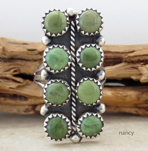 Green Turquoise & Sterling Silver Ring size 7.5 Navajo Made - 1134rio