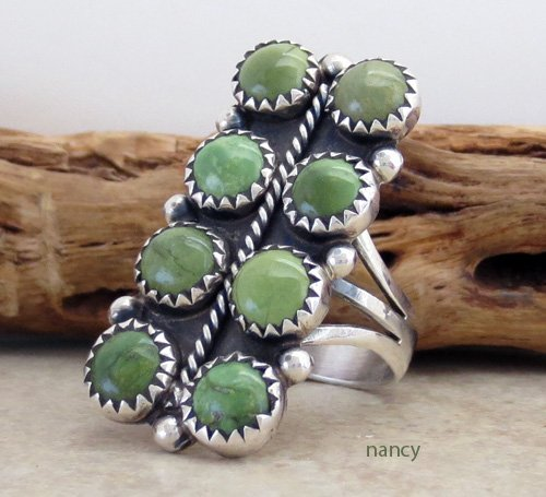 Image 1 of    Green Turquoise & Sterling Silver Ring size 7.5 Navajo Made - 1134rio