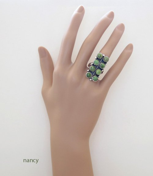 Image 2 of    Green Turquoise & Sterling Silver Ring size 7.5 Navajo Made - 1134rio