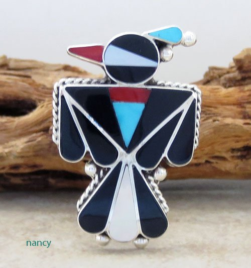 Zuni Made Thunderbird Inlay & Sterling Silver Ring size 7 - 2306pl