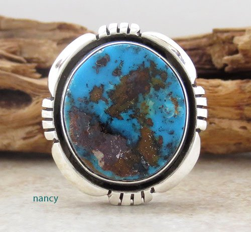 Turquoise & Sterling Silver Ring size 7.5 Navajo Made - 1706pl