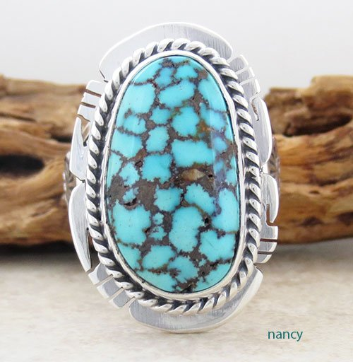 Navajo Made Kingman Web Turquoise & Sterling Silver Ring size 9 - 1716sn