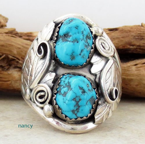 Old Navajo made Turquoise & Sterling Silver ring sz 14 - 1726vt