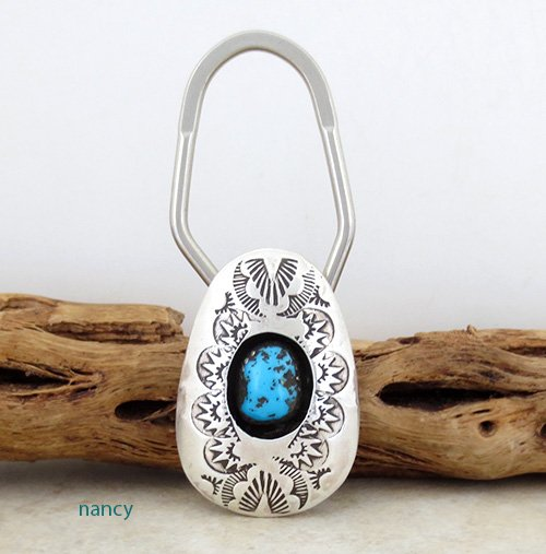 Stamped Sterling Silver & Turquoise Key Ring Navajo Made - 2419rio