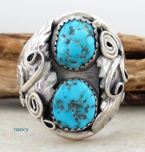 Old Navajo made Turquoise & Sterling Silver ring sz 14.5 - 2415vt