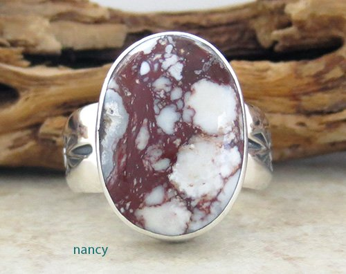 Navajo Made Wild Horse Stone & Sterling Silver Ring size 9 - 1819sn