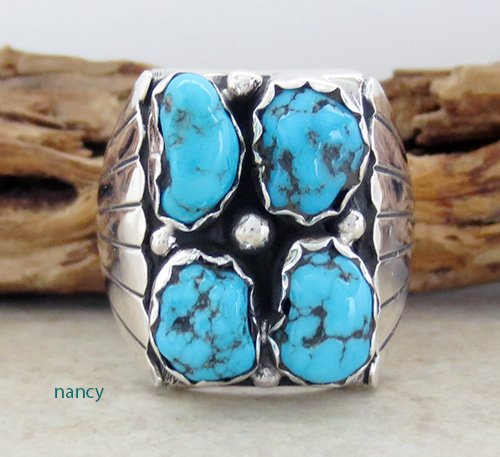 Navajo Made Turquoise & Sterling Silver Nugget Ring size 10.75 - 1736sn