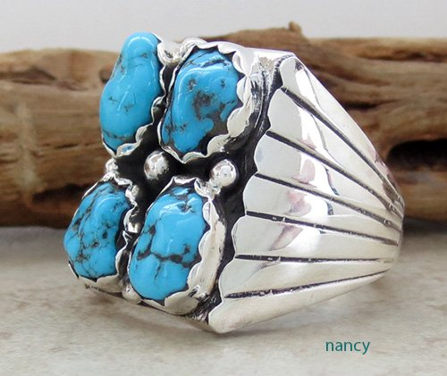 Image 1 of       Navajo Made Turquoise & Sterling Silver Nugget Ring size 10.75 - 1736sn
