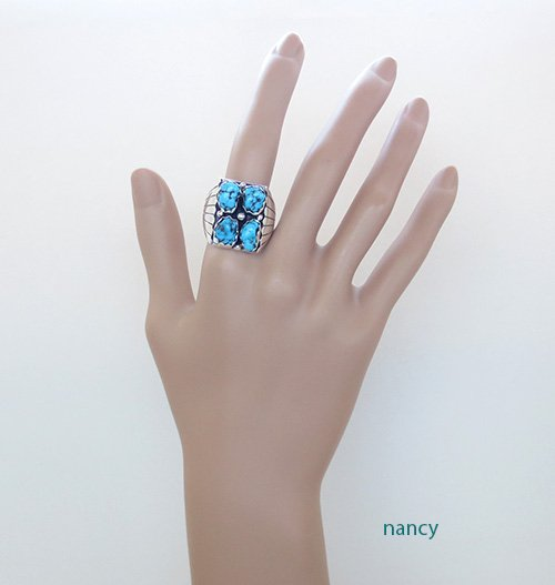 Image 2 of       Navajo Made Turquoise & Sterling Silver Nugget Ring size 10.75 - 1736sn