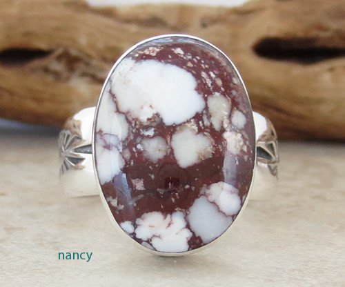 Navajo Made Wild Horse Stone & Sterling Silver Ring size 9 - 2463sn
