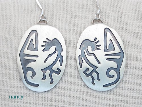 Image 0 of   Hopi Style Navajo Jewelry Sterling Silver Earrings - 2461rio
