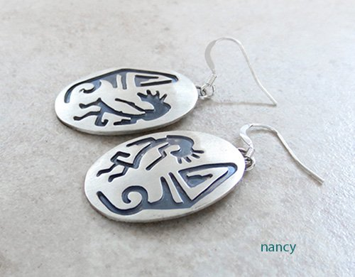 Image 1 of   Hopi Style Navajo Jewelry Sterling Silver Earrings - 2461rio