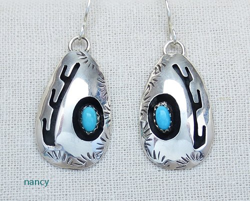 Image 0 of  Turquoise & Sterling Silver Earrings Navajo Made - 2375rio