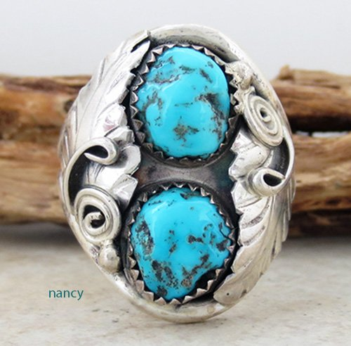 Old Navajo made Turquoise & Sterling Silver ring size 13.5 - 2347vt