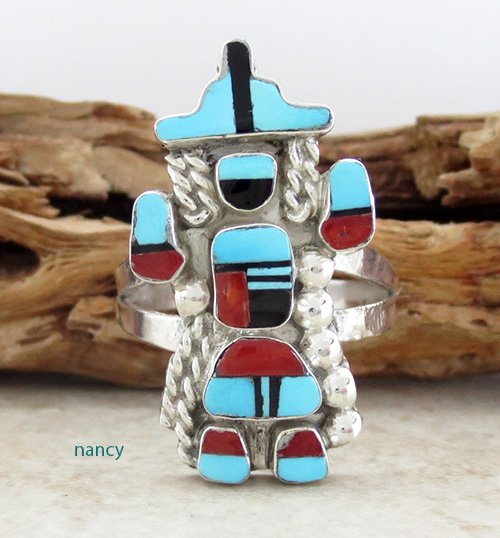 Rainbow Man Turquoise & Sterling Silver Ring size 7.25 Zuni - 1839pl