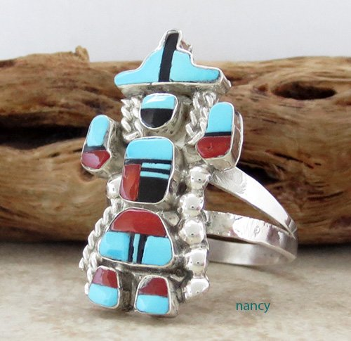 Image 1 of   Rainbow Man Turquoise & Sterling Silver Ring size 7.25 Zuni - 1839pl