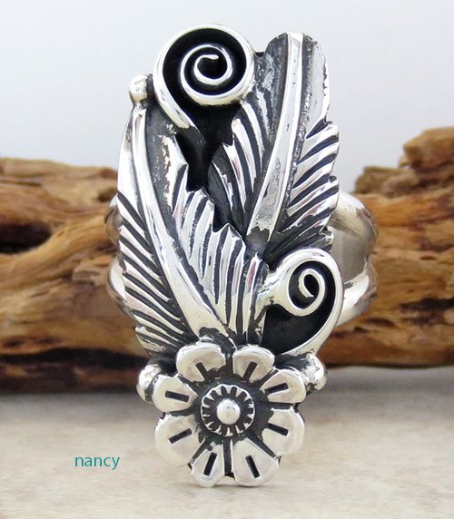 Sterling Silver Flower Ring size 9.25 Navajo Made - 1926rio