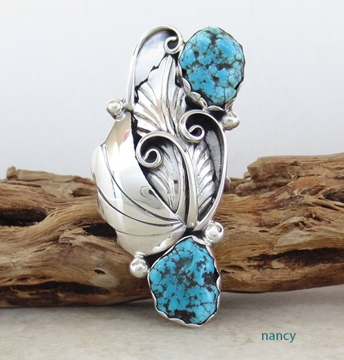 Large Sterling Silver & Turquoise Ring size 7.5 Navajo Made - 1927rio