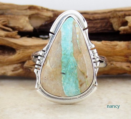 Boulder Ribbon Turquoise & Sterling Silver Ring sz 7 Navajo Made - 1931sn