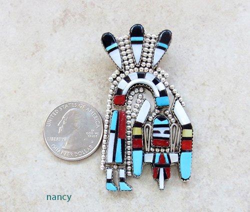 Image 1 of   Sterling Silver Rainbow Man Mosaic Inlay Pendant Zuni Made - 2465rio