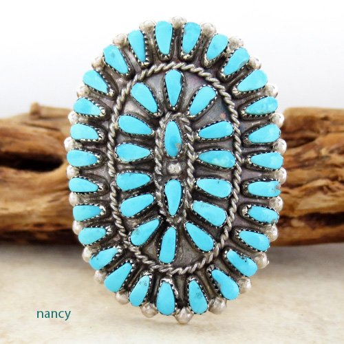 Turquoise Cluster & Sterling Silver Ring size 9 Zuni Made - 2469rio
