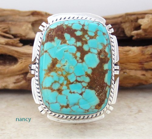 Navajo Made #8 Mine Turquoise & Sterling Silver Ring size 9 - 1941sn
