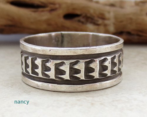 Old Sterling Silver Ring sz 17 Navajo Made - 1857vt