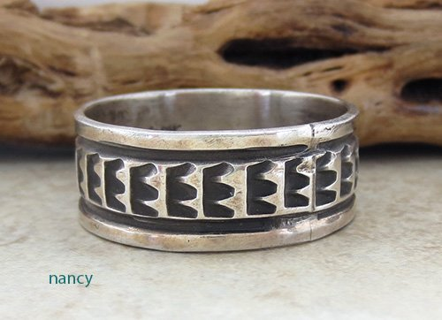 Image 1 of Old Sterling Silver Ring sz 17 Navajo Made - 1857vt