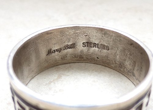 Image 2 of Old Sterling Silver Ring sz 17 Navajo Made - 1857vt