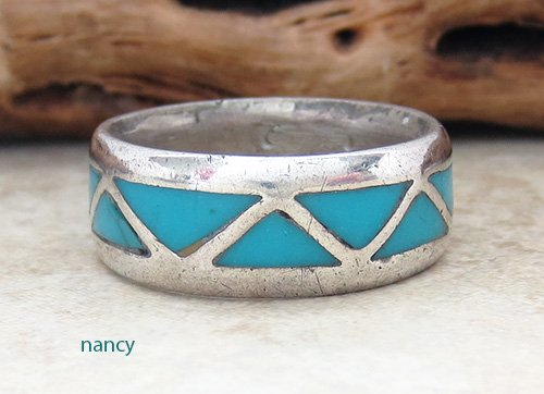 Old Zuni Turquoise Inlay & Sterling Silver Ring size 8 - 2476vt