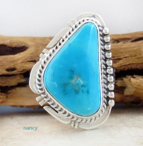 Navajo Made Sleeping Beauty Turquoise & Sterling Silver Ring size 9 - 1785sn
