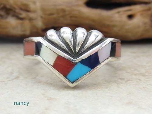 Navajo Made Estate Turquoise Jet Mop Inlay Ring size 9 - 2478br