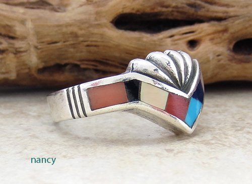 Image 1 of   Navajo Made Estate Turquoise Jet Mop Inlay Ring size 9 - 2478br