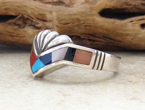 Image 2 of   Navajo Made Estate Turquoise Jet Mop Inlay Ring size 9 - 2478br