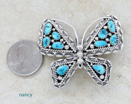 Image 1 of     Turquoise & Silver Butterfly Pendant Navajo Made