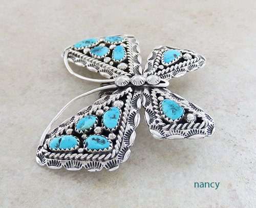 Image 2 of     Turquoise & Silver Butterfly Pendant Navajo Made