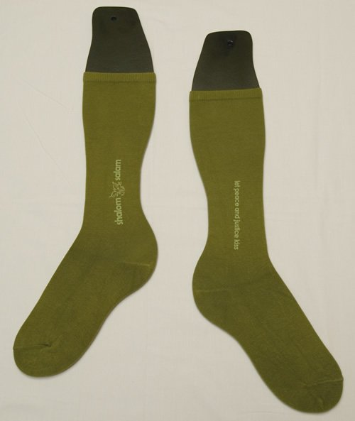 Shalom Salam socks  knee high  68  organic cotton. Let peace and justice kiss.