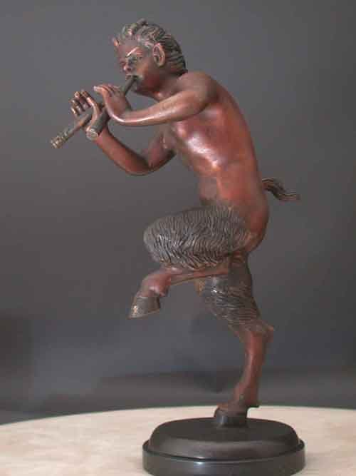 Image 0 of Bronze Pan With Flute Mythology Sculpture