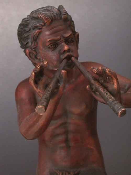 Image 2 of Bronze Pan With Flute Mythology Sculpture