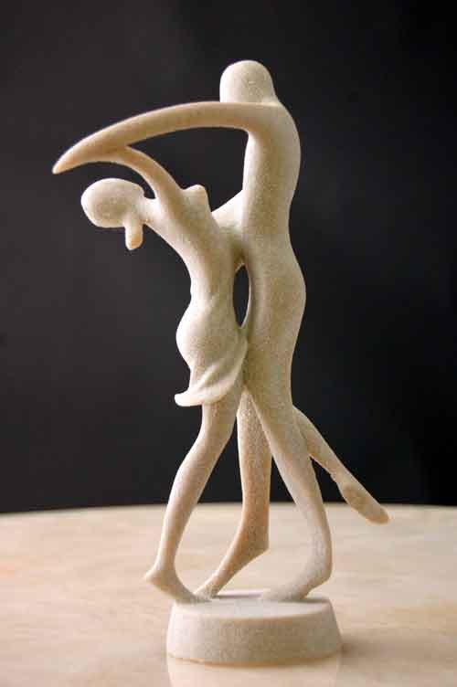 Image 1 of Tango Dancers Male Female Silica Resin Sculpture Art